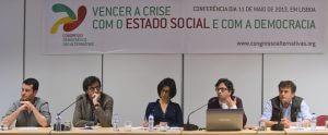 Palestra sobre rendimento básico (por Roberto Merrill), no colóquio sobre Vencer a crise com a segurança social